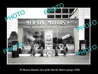 OLD LARGE HISTORIC PHOTO OF ST THOMAS ONTARIO, THE MERLIN MOTOR GARAGE c1940