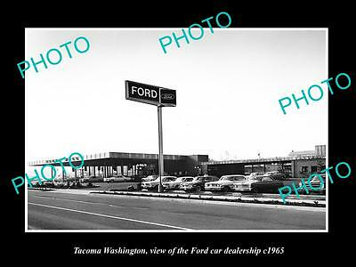 OLD LARGE HISTORIC PHOTO OF TACOMA WASHINGTON, THE FORD CAR DEALERSHIP c1965