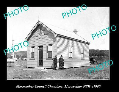 OLD LARGE HISTORIC PHOTO OF MEREWETHER NSW, COUNCIL CHAMBERS c1900
