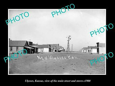 OLD LARGE HISTORIC PHOTO OF ULYSSES KANSAS, VIEW OF THE MAIN St & STORES c1900