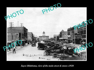 OLD LARGE HISTORIC PHOTO OF SAYRE OKLAHOMA, THE MAIN STREET & STORES c1920 2