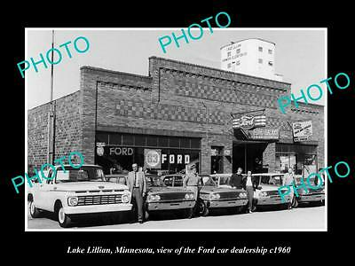 Old Large Historic Photo Of Lake Lillian Minnesota, The Ford Car Dealership 1960