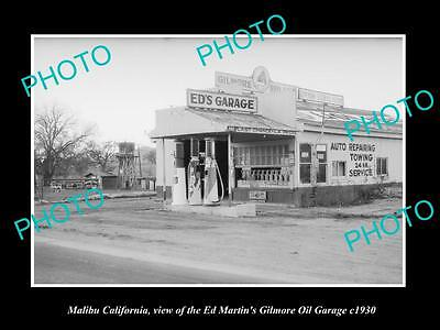 Old Large Historic Photo Of Malibu California, The Gilmore Oil Gas Station 1930