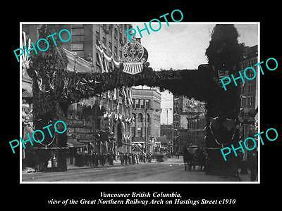 OLD HISTORIC PHOTO OF CANADA VANCOUVER BRITISH COLUMBIA, THE RAILROAD ARCH c1910