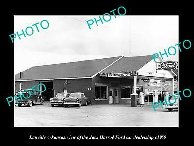 Old Large Historic Photo Of Danville Arkansas, The Ford Car Dealership 1959