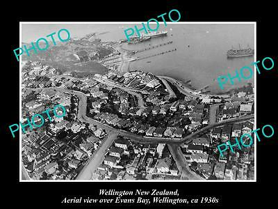 OLD LARGE HISTORIC PHOTO OF WELLINGTON NEW ZEALAND, VIEW OF EVANS BAY c1930s