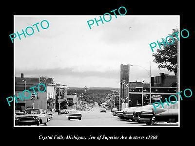 OLD LARGE HISTORIC PHOTO OF CRYSTAL FALLS MICHIGAN, SUPERIOR Ave & STORES c1968