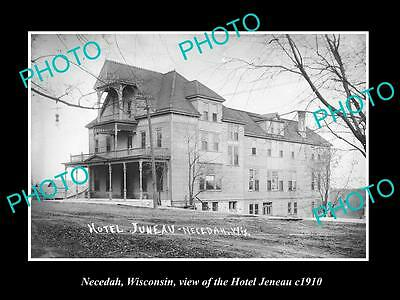 OLD LARGE HISTORIC PHOTO OF NECEDAH WISCONSIN, VIEW OF THE HOTEL JENEAU c1910