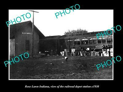 OLD LARGE HISTORIC PHOTO OF ROSE LAWN INDIANA, THE RAILROAD DEPOT STATION c1930