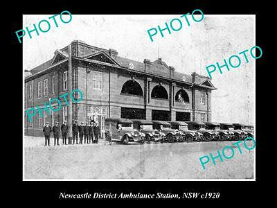 OLD LARGE HISTORICAL PHOTO OF THE NEWCASTLE DISTRICT AMBULANCE STATION c1920 NSW