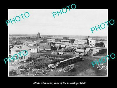 OLD LARGE HISTORIC PHOTO OF MINTO MANITOBA, VIEW OF THE TOWNSHIP c1890