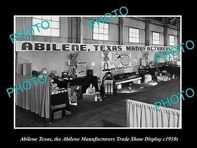 OLD LARGE HISTORIC PHOTO OF ABILENE TEXAS, THE MANUFACTURING TRADE DISPLAY c1950