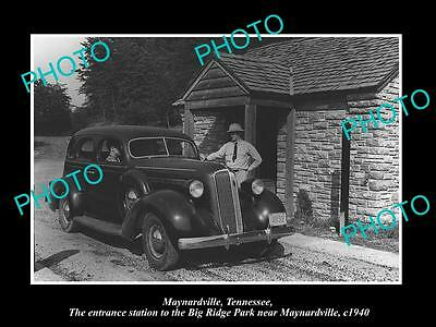 Old Large Historic Photo Of Maynardville Tennessee, The Big Ridge Park Gate 1940