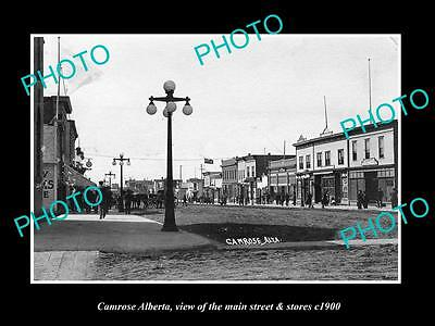 OLD LARGE HISTORIC PHOTO OF CAMROSE ALBERTA, THE MAIN STREET & STORES c1900