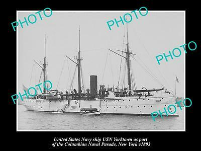 OLD LARGE HISTORIC PHOTO OF US NAVY WARSHIP, THE USN YORKTOWN c1893, NEW YORK