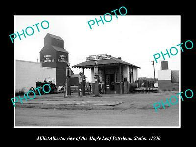 OLD LARGE HISTORIC PHOTO OF MILLERT ALBERTA, THE MAPLE LEAF GAS STATION c1930