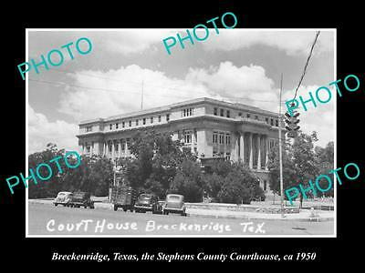 Old Large Historic Photo Of Breckenridge Texas, Stephens County Court House 1950