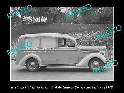 OLD LARGE HISTORICAL PHOTO OF KYABRAM VICTORIA, AMBULANCE SERVICE CAR c1940s