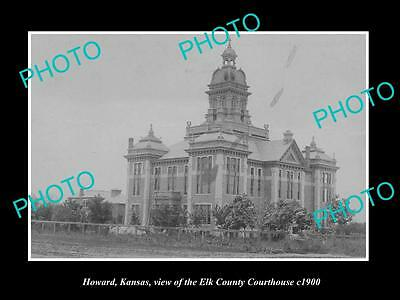 OLD LARGE HISTORIC PHOTO OF HOWARD KANSAS, THE ELK COUNTY COURT HOUSE c1900