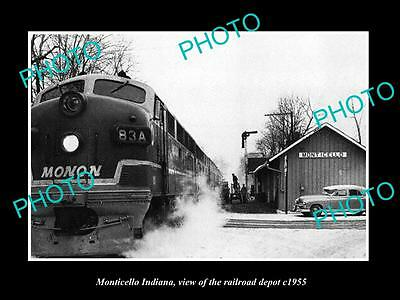 OLD LARGE HISTORIC PHOTO OF MONTICELLO INDIANA, THE RAILROAD DEPOT c1955