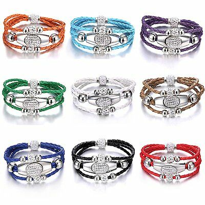 Multi-layer Magnetic Buckle Leather Bracelet Crystal Cuff Bangle Women Jewelry
