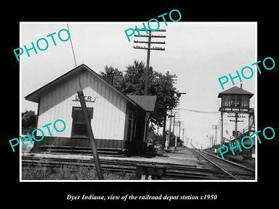 OLD LARGE HISTORIC PHOTO OF DYER INDIANA, THE RAILROAD DEPOT STATION c1950