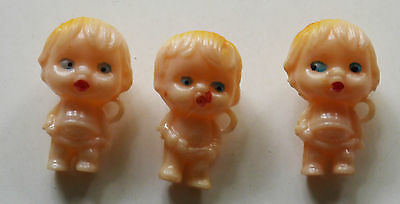 GUMBALL Vintage Cupie Baby Doll Prize Toy Charm Charms lot of 3 - 2 Different