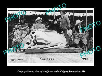 OLD LARGE HISTORIC PHOTO OF CALGARY ALBERTA, THE QUEEN AT THE STAMPEDE c1951