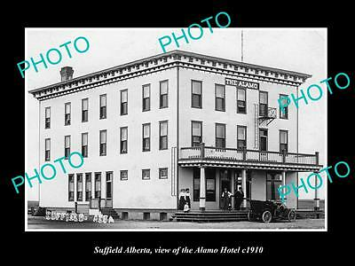 OLD LARGE HISTORIC PHOTO OF SUFFIELD ALBERTA, VIEW OF THE ALAMO HOTEL c1910