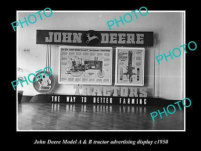 OLD LARGE HISTORIC PHOTO OF JOHN DEERE MODEL A & B TRACTOR DISPLAY c1950