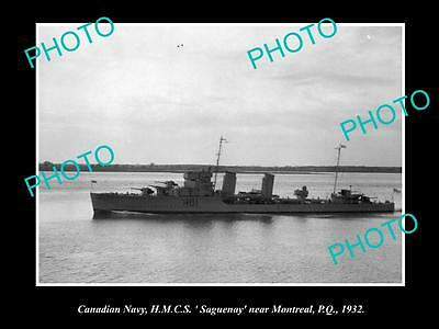 OLD LARGE HISTORIC PHOTO OF CANADIAN NAVY, HMCS SAGUENAY c1932 MONTREAL