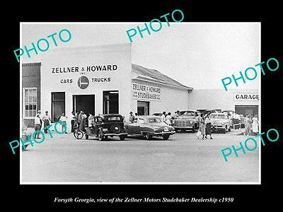 OLD LARGE HISTORIC PHOTO OF FORSYTH GEORGIA, THE STUDEBAKER MOTOR GARAGE c1950