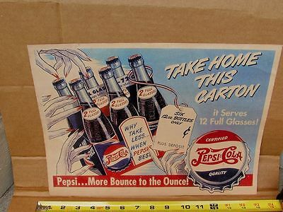 Vintage 1940's Cardboard Pepsi Double Dot Soda Fountain Six Pack Sign