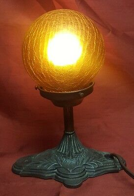Vintage Metal Spelter Art Deco Styled Table Lamp Germany Crackled Glass Globe