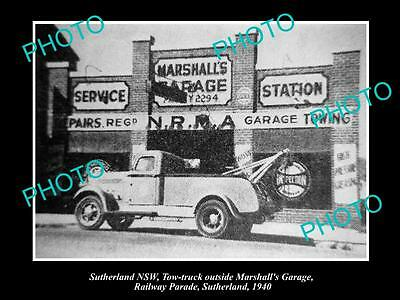 OLD LARGE HISTORIC PHOTO OF SUTHERLAND NSW, MARSHALLS GARAGE NRMA c1940s