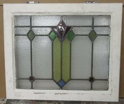 MID SIZED OLD ENGLISH LEADED STAINED GLASS WINDOW Fun Geometric Abstract 24x20.5