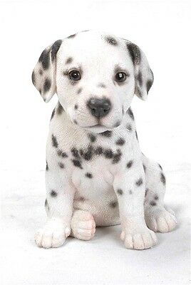Sitting DALMATIAN Puppy Dog Life Like Figurine Statue Home Garden NEW Free Ship