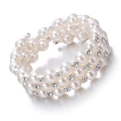 1Pc Fashion Women Lady Pearl Cuff Bracelet Crystal Bangle Jewelry Wedding Gifts