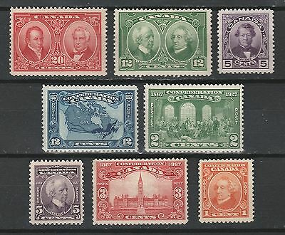Canada Stamps - 1927 Historical and Confederation Issue #141-148 MNH OG VF