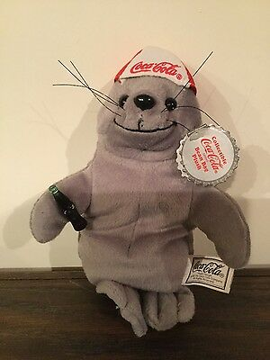 """coca-Cola Seal"" In Baseball Cap Plush Beanbag Gray Nwt"