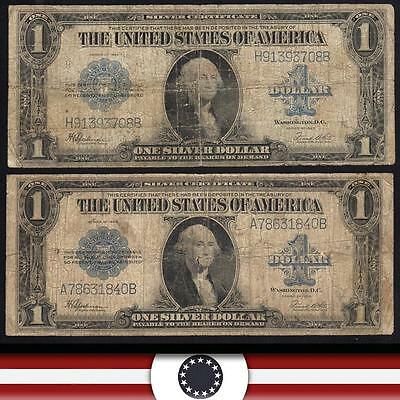 PAIR of 1923 $1 dollar Silver Certificate Note LARGE SIZE BLUE SEAL BILL Fr 237