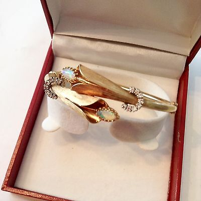 Antique/Estate Bangle Braceltet with Diamond and Opals set in 14K Solid Yellow G