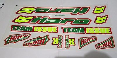 Haro Team Issue Decals Stickers Set Green Color Bmx Bike Old School Nos