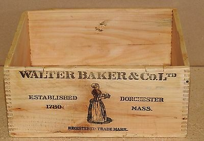 Primitive VIntage Walter Bakers Breakfast COCOA Wood box Finger Joint