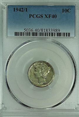 1942/1 Mercury Dime! Pcgs Xf40! 10C! Us Coin Lot #4806