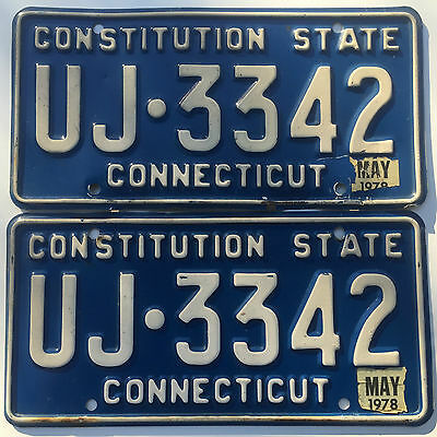 Connecticut License Plate Tag 1978 -UJ 3342- CT -1978 Sticker