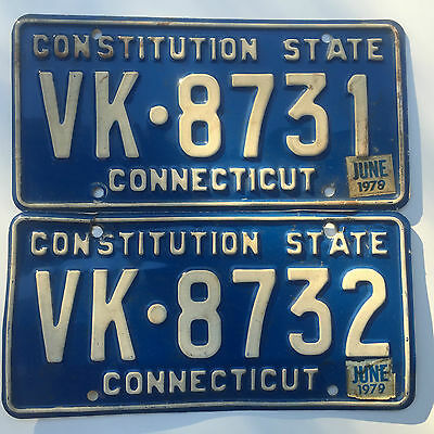 Connecticut License Plate Tag 1978 -VK 8731- CT -1979 Sticker