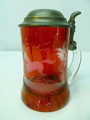 Vtg Glass Beer Stein Flash Ruby Red Flashed Cut to Clear Rein Zinn w Horse Scene