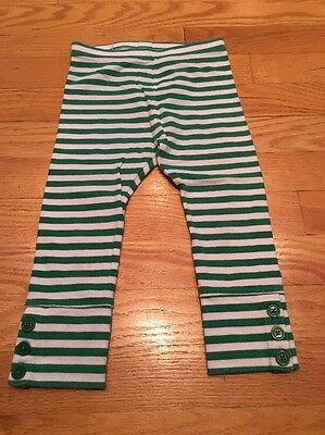 baby Gap Infant Girl Leggings Pants - Green & White Striped  2T/ GUC Adorable
