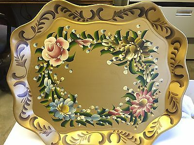Vintage Hand Painted Gold Floral Metal Toleware Tray 21 5/8 x 17 1/2